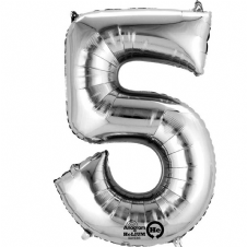 Number 5 Silver Mini Air-Fill Foil Balloon